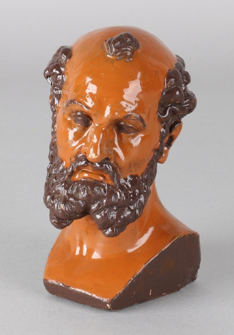 Antique Viennese Gold Separator terracotta bust. Overpainted. Size: 12.5 cm. In