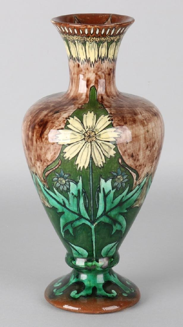 Beautiful antique polychrome Purmerend pottery vase with thistle decor. Various