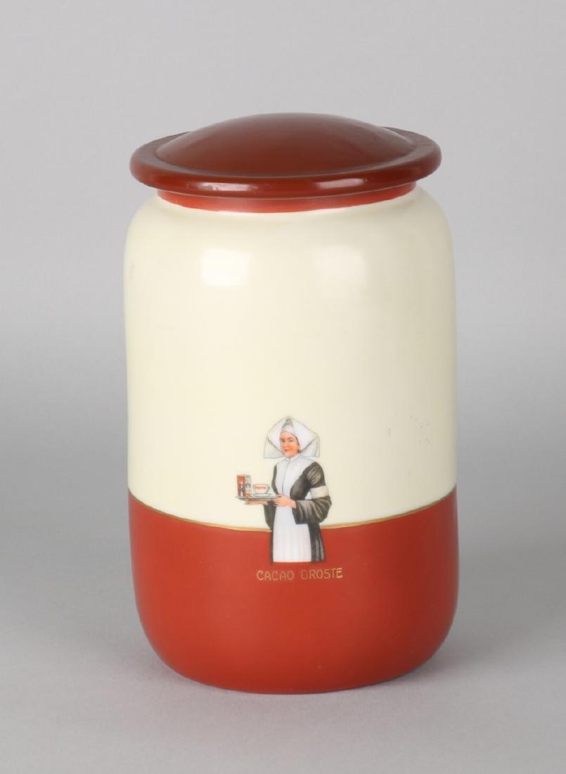 Rare Droste cocoa storage pot. 20th century. Size: 16 x 10 cm ø. In good conditi