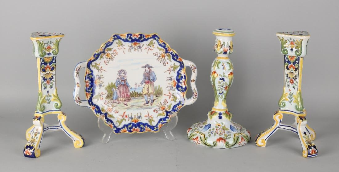 Four times antique French Fayence pottery, polychrome. Three times candlesticks,