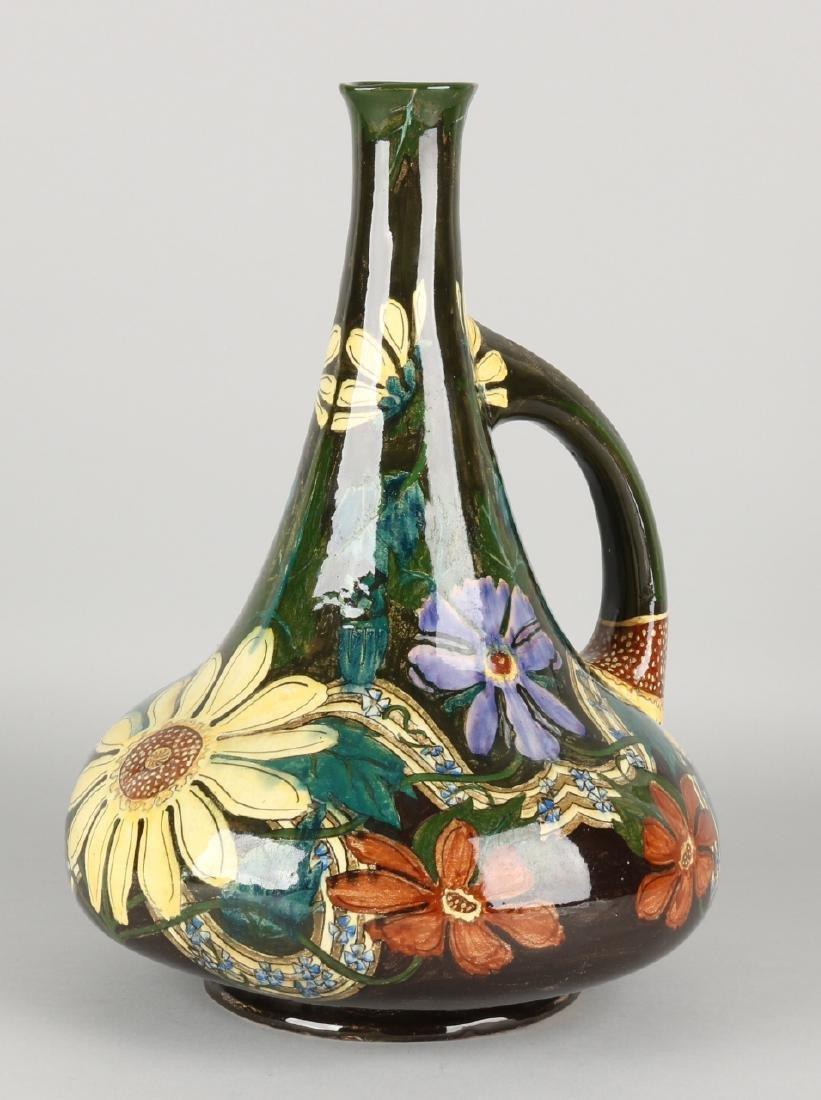 Rare large Dutch Purmerend Jugendstil polychrome Fayence vase, with floral decor