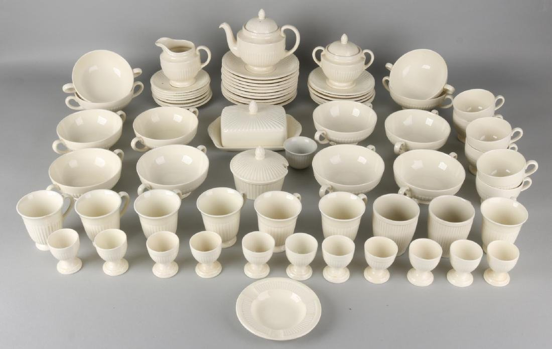 English Wedgwood Creme Ware porcelain tableware. Consisting of: 12 egg cups, but