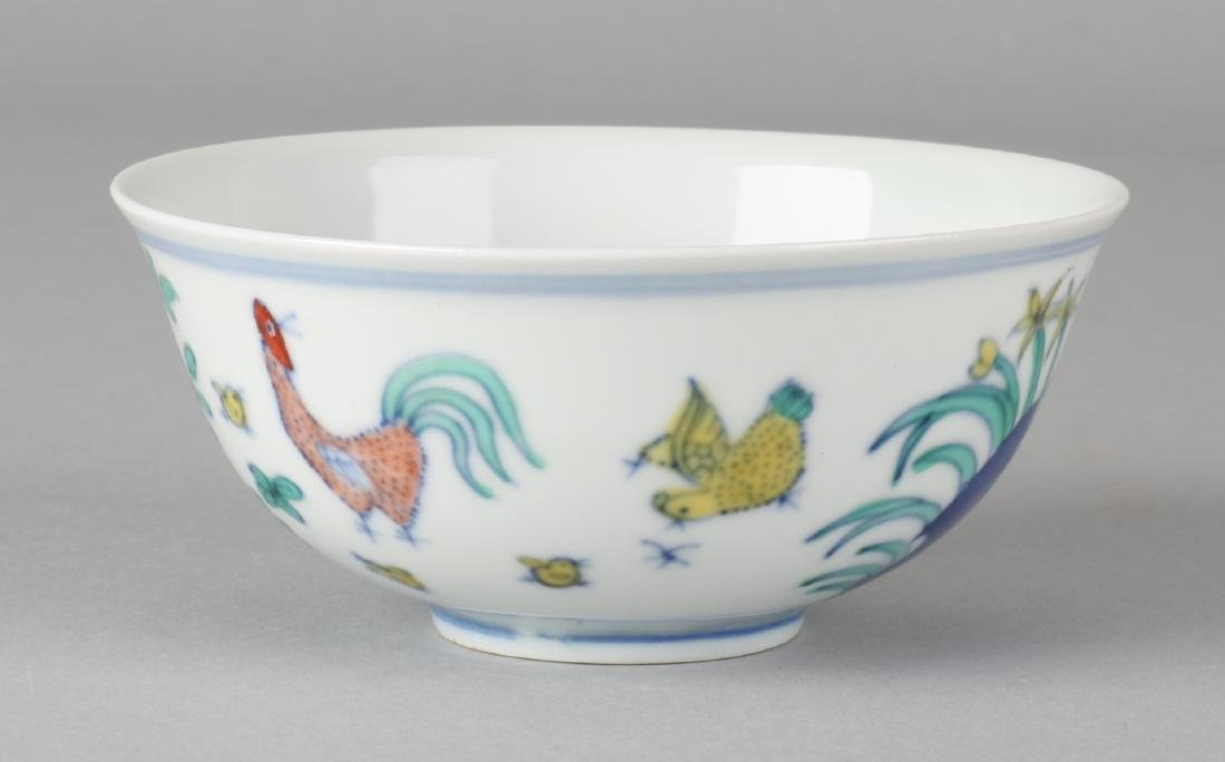 Old / antique Chinese porcelain Chicken bowl with floor mark. Size: 4.5 x 10.3 c