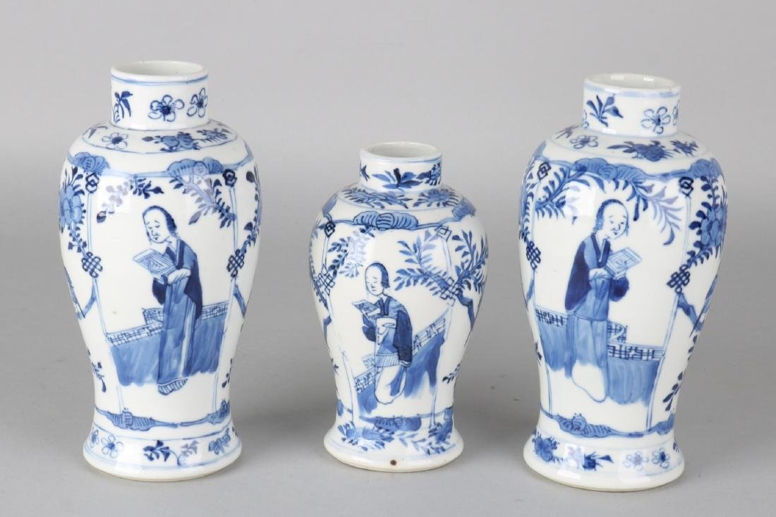 Three ancient Chinese porcelain Kang Xi-style vases with floor mark, four signs,