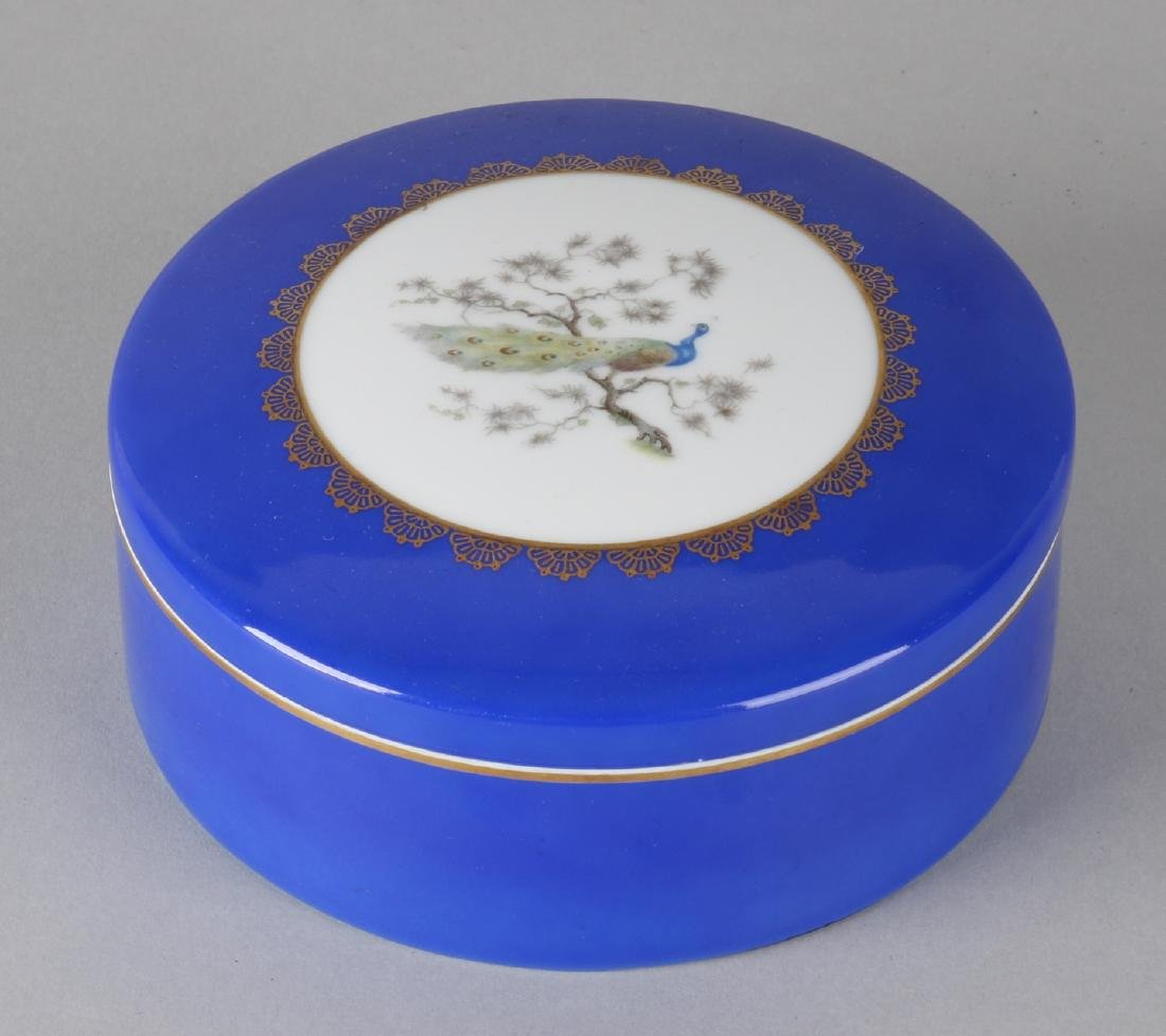 Large German hand-painted Rosenthal porcelain box with peacock and gold decor. 2