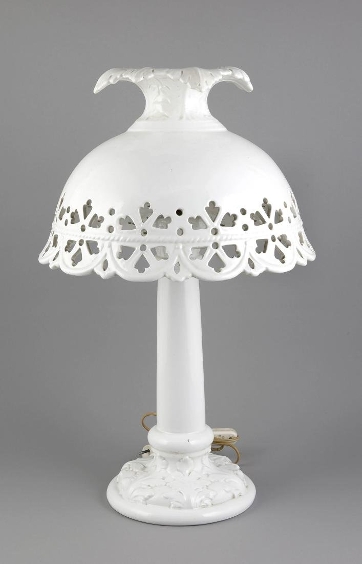 Large Italian ceramic table lamp with openwork hood. Second half of the 20th cen