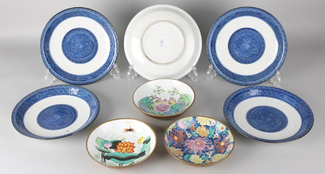 Eight times old Chinese porcelain. 20th century. Five celadon plates with landsc