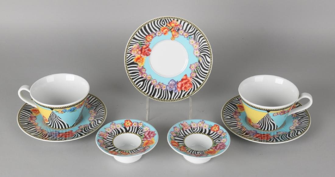 Rosenthal Versace dinnerware with decor Hot Flowers. Consisting of: Two egg cups