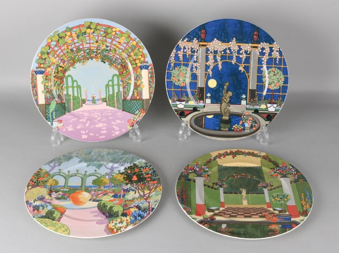 Four large Villeroy & Boch porcelain plates. Jardins Francais. Dishwasher safe.