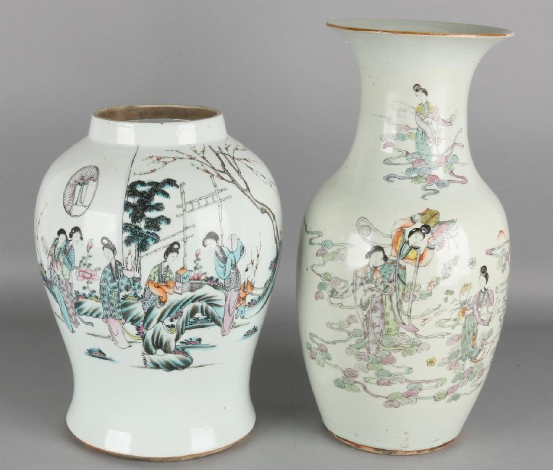 Two 19th century Chinese porcelain vases with figures and texts. Both vases have