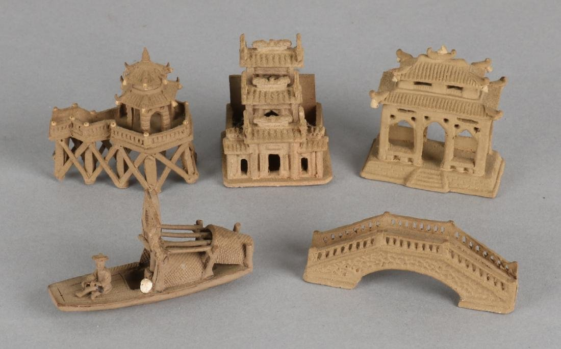 Five ancient Chinese miniature terracotta figures. Three times with pagoda build