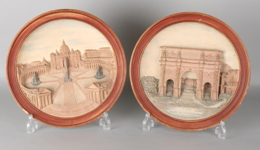 Two antique terracotta embossed ornamental wall dishes. Monogram JM S149. Circa
