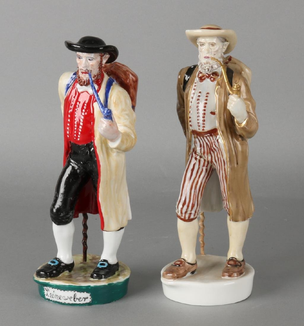 Two old hand-painted 'Fürstenberg' porcelain figures. 'Men with tobacco pipes'.