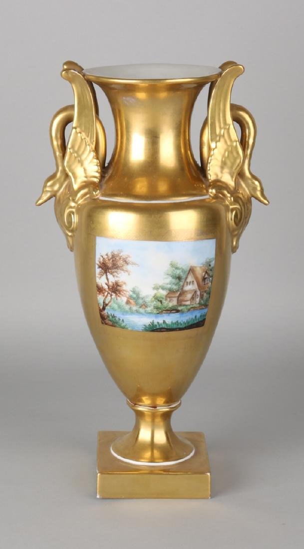 Large German gold-plated Dresden porcelain Empire-style vase with landscapes dec