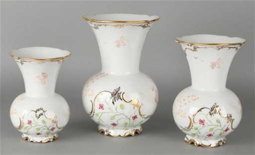 Three Old German Frstenberg Porcelain Ornamental Vases With Gold