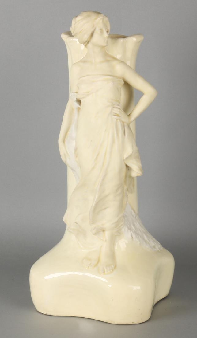 Large signed ceramic Art Nouveau vase. Circa 1910. Signed 'K. Philipp '. Vase ha