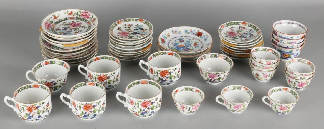 Lot of antique porcelain dinnerware with chinoiserie decor + gold decor. Circa: