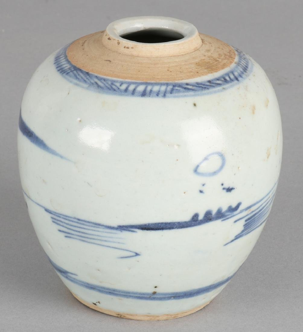 18th -19th Century Chinese porcelain ginger jar with landscape decor. Size: 10 -