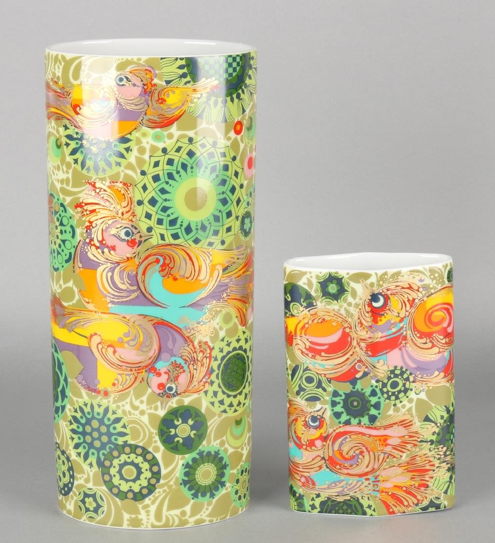 Two German Rosenthal Studio-Line Björn Wiinblad porcelain vases with birds and g