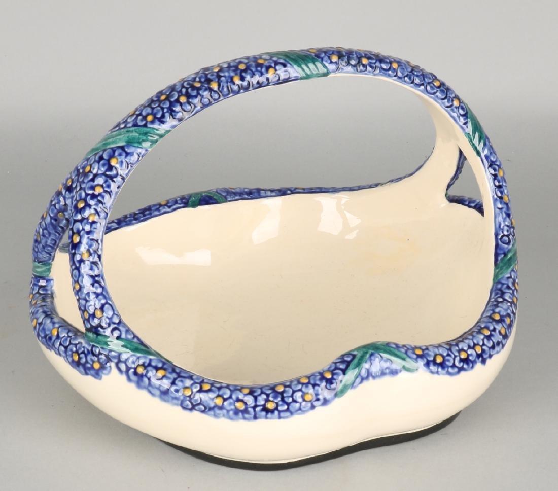 Antique German Karlsruhe Majolica fruit bowl, Nr. 4255 1 '. Circa: 1920. Size: 2