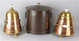 Three parts of antique copper work. Two 19th century