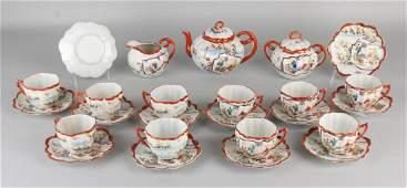 Antique 14-piece Japanese porcelain tea set with