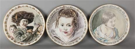 Three old German hand-painted Fürstenberg porcelain