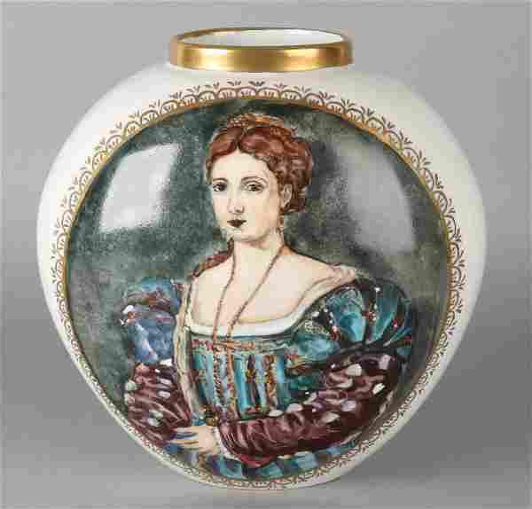 Hand-painted large German KPM porcelain vase. By