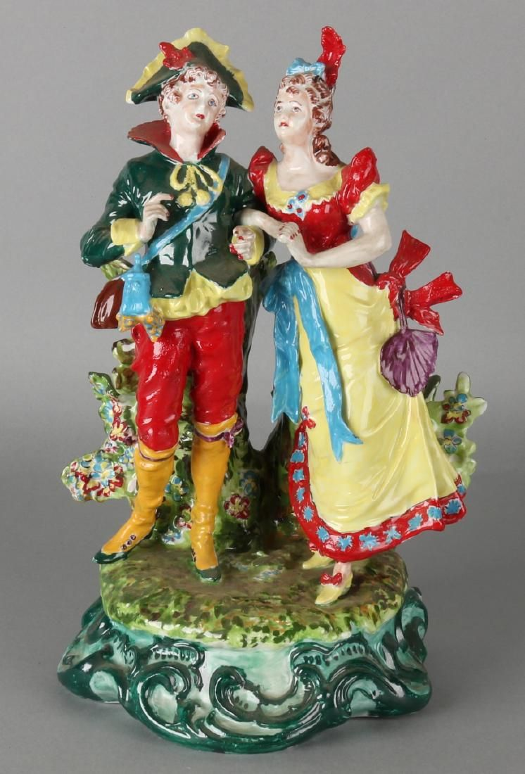Large German Thuringia porcelain vase / figure group.