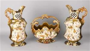 Three-piece antique English or German Majolica vases.