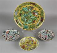 Four old / antique Chinese porcelain dishes + plate