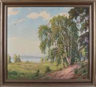M. Zschuckelt. German School. Landscape with lake and