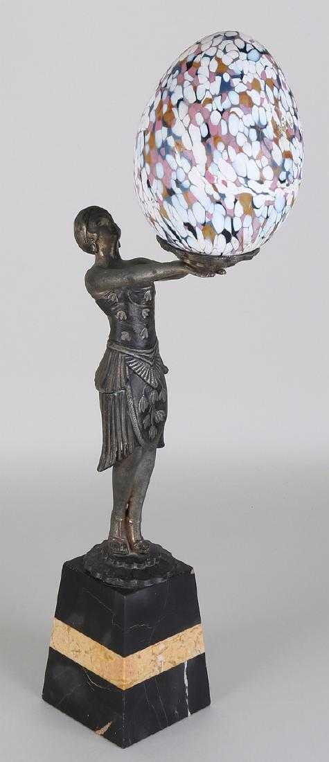 Art Nouveau Table Lamp Composition Metal On Marble