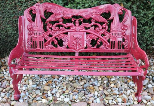 Cool Old Cast Iron Red Castle Garden Bench With Family Jan 12 Machost Co Dining Chair Design Ideas Machostcouk