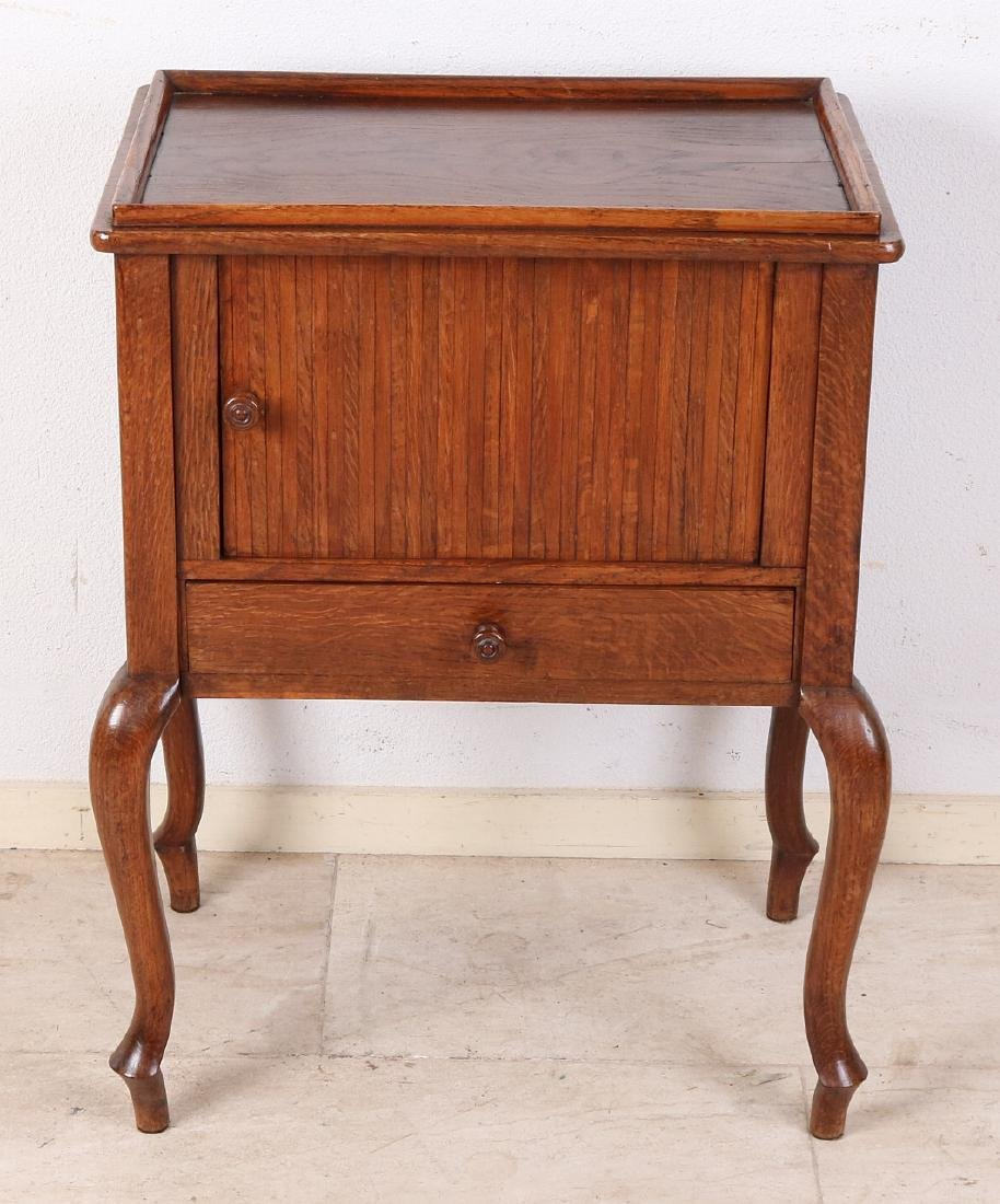 Antique Oak Side Table With Drawer And Rolling Door.