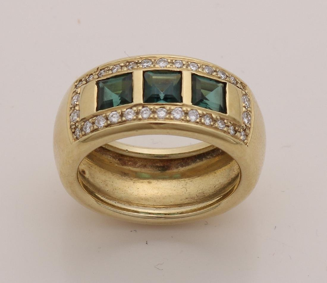 Yellow gold band ring, 585/000, with diamond and