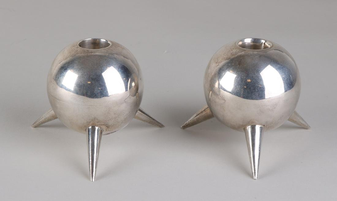 Pair of silver candlesticks, 925/000, convex