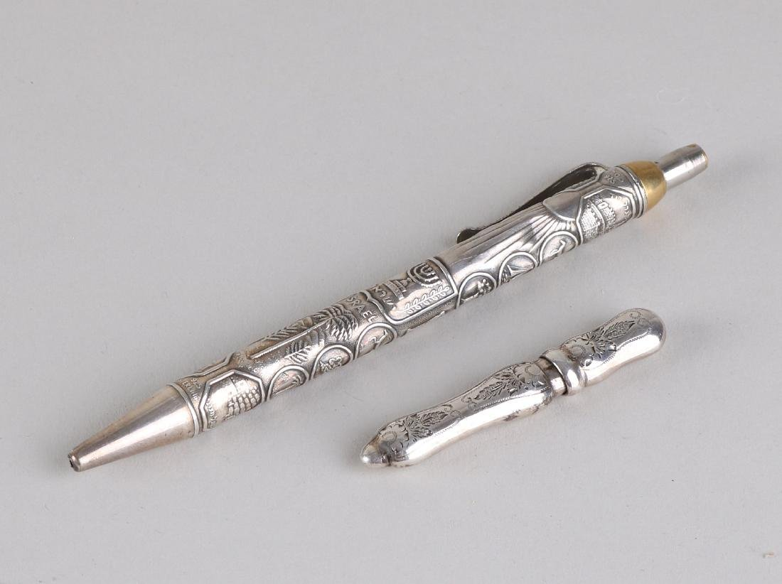 Silver pen and needle case, contoured needle case with