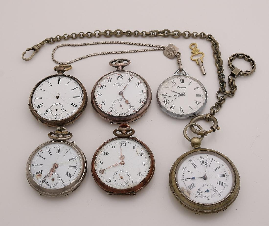 Lot with six pocket watches, mechanical, various