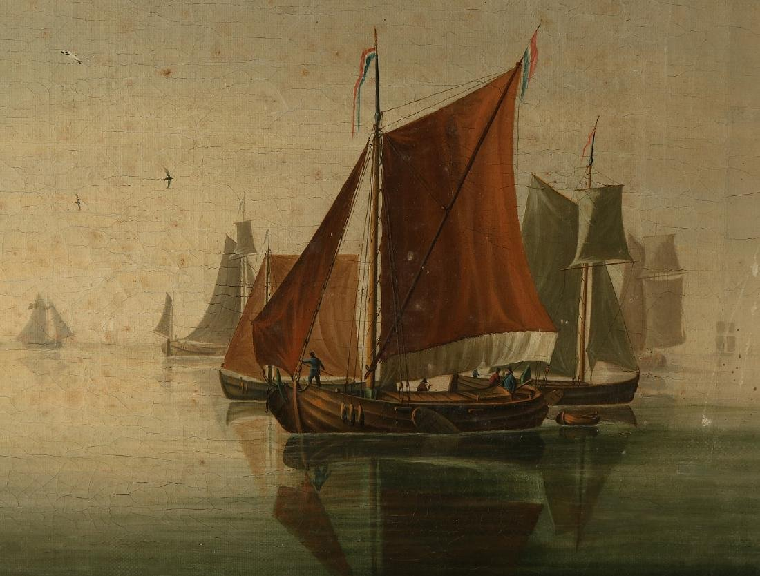 Dutch School. 19th century. Dutch shipping at calm sea.