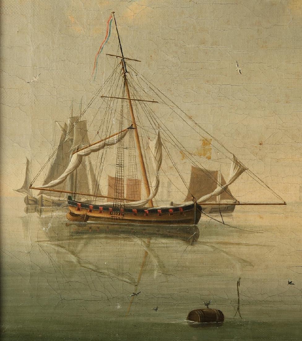 Dutch School. 19th century. Dutch shipping at calm sea. - 2