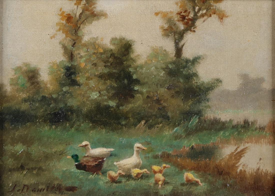 J. Damstra. Dutch School. 20th century. Duck family on