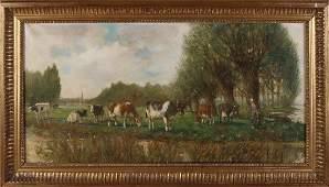 Unsigned. Circa 1900. Dutch School. Landscape with cows