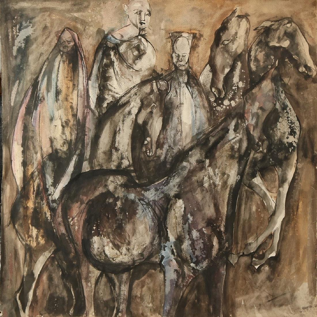 Unsigned. 20th century. Figures with horses. Watercolor