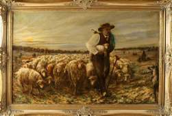 M. Lamprecht. 20th century. Sheep shepherd with herd.
