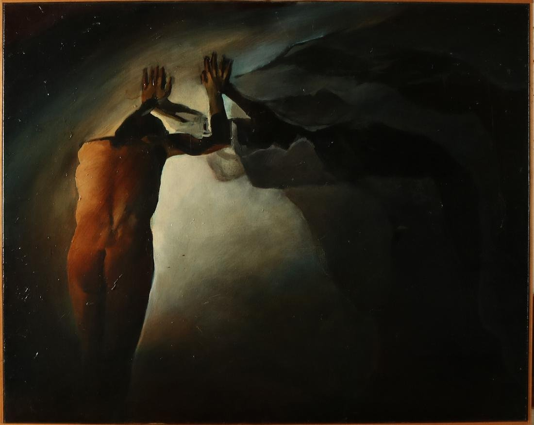 Unsigned. Modern. Naked man against rock party. Oil on
