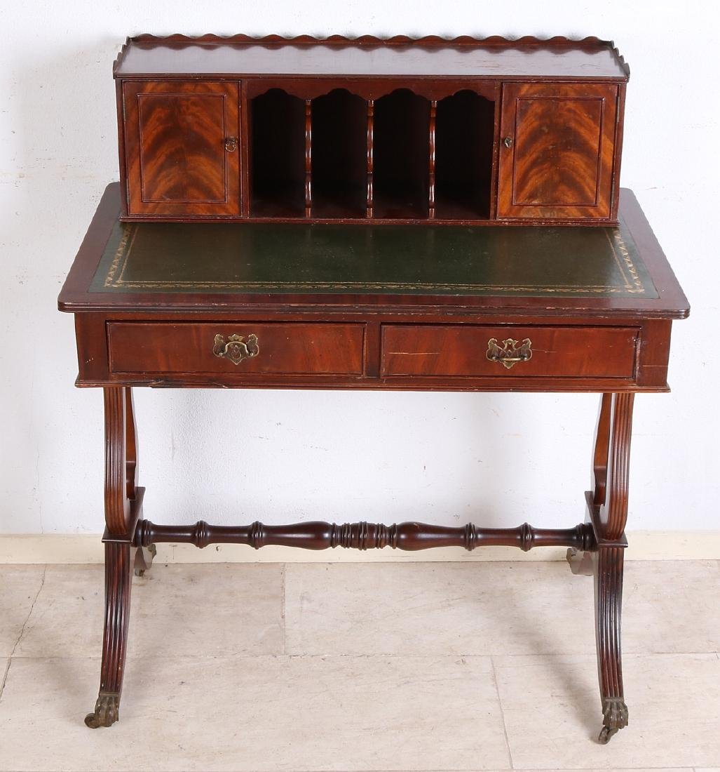 English mahogany writing desk with green writing