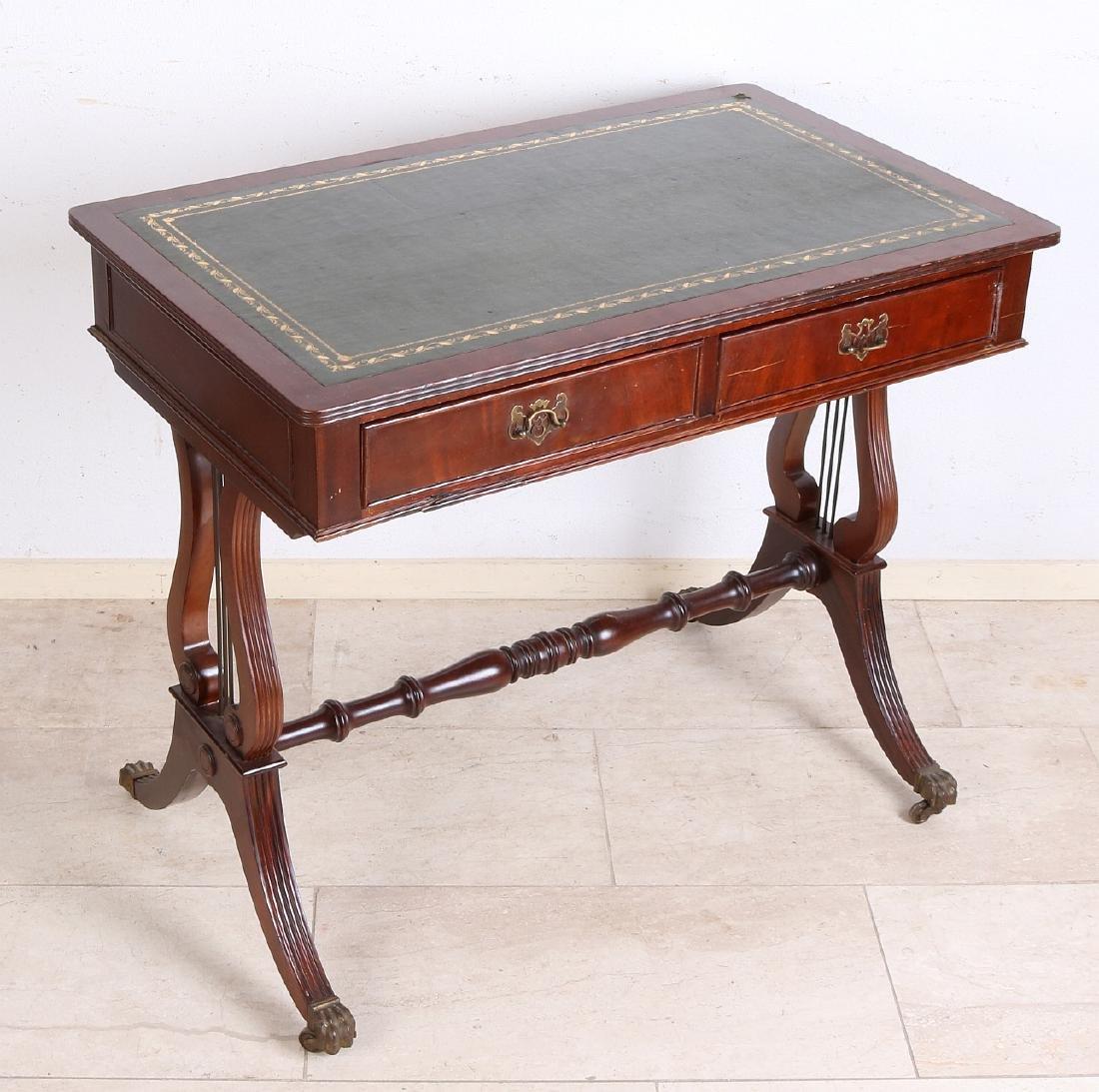 English mahogany writing desk with green writing - 2