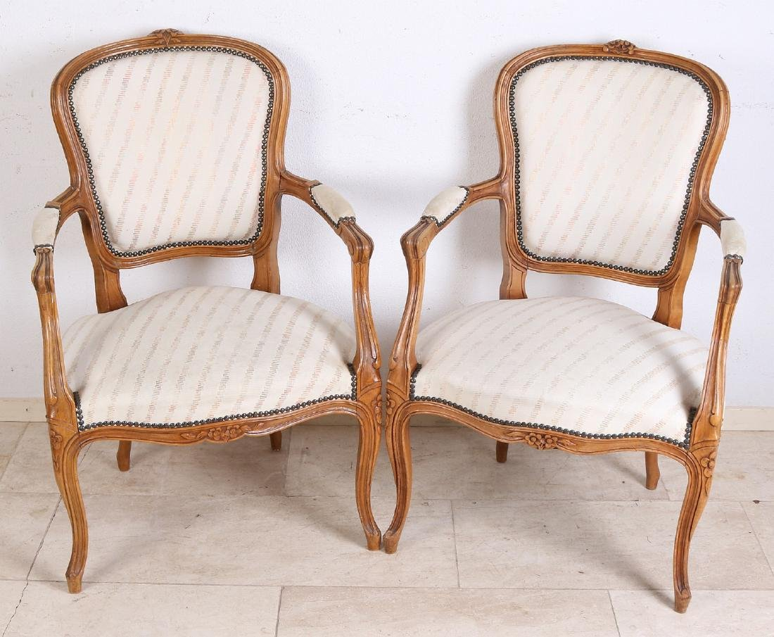Five French Louis Quinze-style armchairs with good