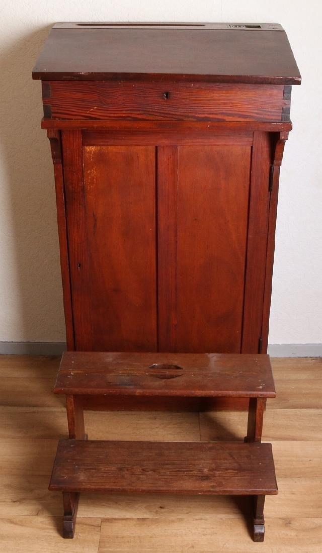 Antique pinewood desk + wooden bench. Circa 1900.